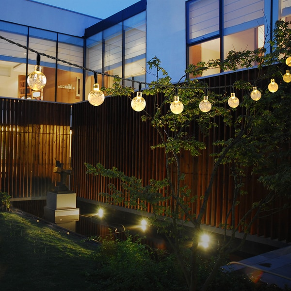 String Lights On Fence : Fairy Lights White Crystal Ball Solar-powered 30-light LED Outdoor Garden/Fence/Path/Landscape ...