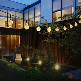 Fairy Lights White Crystal Ball Solar-powered 30-light LED Outdoor Garden/Fence : home exterior lighting - azcodes.com