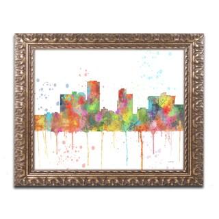 Marlene Watson 'Little Rock Arkansas Skyline Mclr-1' Ornate Framed Art