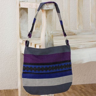 Handmade Cotton 'Luscious Gray' Shoulder Bag (Guatemala)