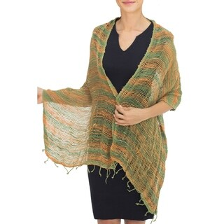 Handmade Cotton 'Breezy Green and Ginger' Shawl(Thailand)