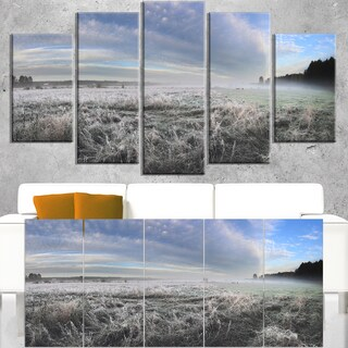 Hoarfrost on Grass under Cloudy Sky - Landscape Print Wall Artwork