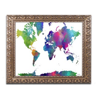 Marlene Watson 'World Map Clr-1' Ornate Framed Art