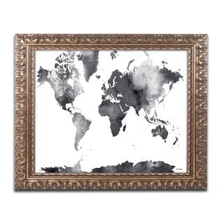 Marlene Watson 'World Map BG-1' Ornate Framed Art