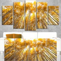 Autumn Bamboo Grove in Yellow - Oversized Forest Canvas Artwork - Green