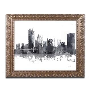 Marlene Watson 'Toledo Ohio Skyline BG-1' Ornate Framed Art