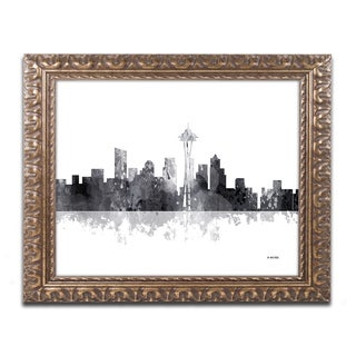 Marlene Watson 'Seattle Washington Skyline BG-1' Ornate Framed Art