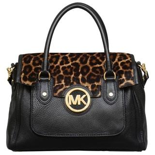 Michael Kors Large Margo Black/Cheetah Shoulder Satchel Handbag