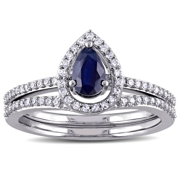 Miadora Signature Collection 14k White Gold 1/3ct TDW Diamond and Diffused Sapphire Bridal Set (G-H, - Blue