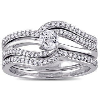 Miadora 10k White Gold 1/2ct TDW Diamond 3-Piece Bridal Ring Set