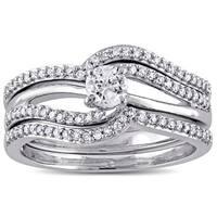 Miadora 10k White Gold 1/2ct TDW Diamond 3-Piece Bridal Ring Set