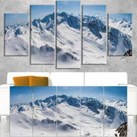 Snowy Mountains Panoramic View - Landscape Wall Art Canvas Print - Blue