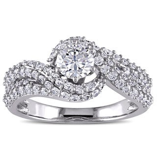 Miadora Signature Collection 14k White Gold 1 3/8ct TDW Bypass Engagement Ring