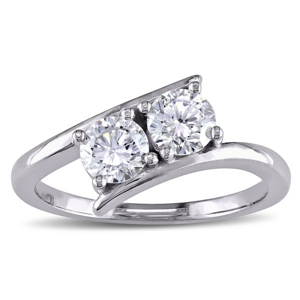 Miadora Signature Collection 14k White Gold 1ct TDW Diamond Bypass 2-Stone Engagement Ring