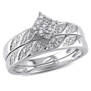 Miadora 10k White Gold 1/10ct TDW Bridal Ring Set