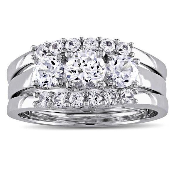 Miadora Signature Collection in 10k White Gold 1 3/4ct Created White Sapphire 3-Stone 3-Piece Bridal