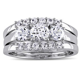 Miadora Signature Collection in 10k White Gold 1 3/4ct Created White Sapphire 3-Stone 3-Piece Bridal