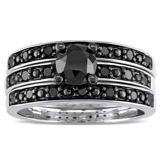 Miadora Sterling Silver 1 1/10ct TDW Black Diamond 3-Piece Bridal Set