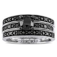 Miadora Sterling Silver 1 1/10ct TDW Black Diamond 3-Piece Bridal Set