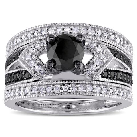 Miadora Sterling Silver 1 1/4ct TDW Black and White Diamond Split Shank 3-Piece Bridal Set