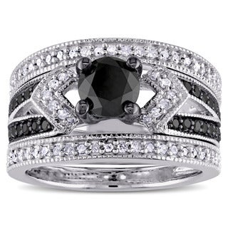 Miadora Sterling Silver 1 1/4ct TDW Black and White Diamond Split Shank 3-Piece Bridal Set