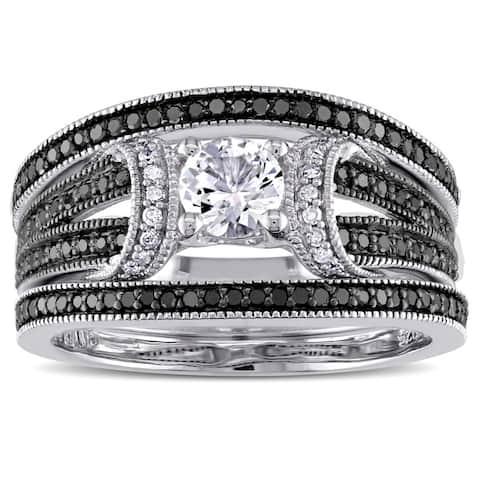 Miadora Sterling Silver 1/2ct TDW Black and White Diamond and Created White Sapphire Split Shank 3-Piece Bridal Set (G-H, I2-I3)