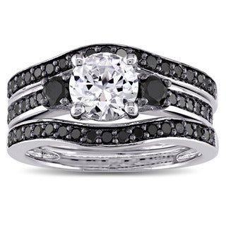 Miadora Sterling Silver 3/4ct TDW Black Diamond and Created White Sapphire 3-Stone 3-Piece Bridal Se