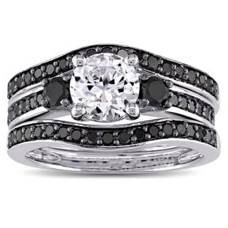 Miadora Sterling Silver 3/4ct TDW Black Diamond and Created White Sapphire 3-Stone 3-Piece Bridal Set