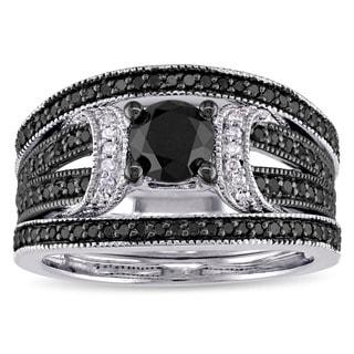 Miadora Sterling Silver 1 1/3ct TDW Black and White Diamond Split Shank 3-Piece Bridal Set