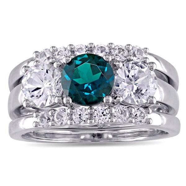Miadora Signature Collection 10k White Gold Created Sapphire and Created Emerald 3-Stone 3-Piece Bri