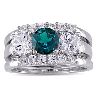 Miadora Signature Collection 10k White Gold Created Sapphire and Created Emerald 3-Stone 3-Piece Bri