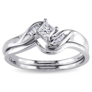 Miadora 10k White Gold 1/4ct TDW Princess and Parallel Baguette Diamond Bridal Ring Set