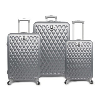 Pacific Coast Pandora Silver ABS 3-piece Hardside Spinner Luggage Set
