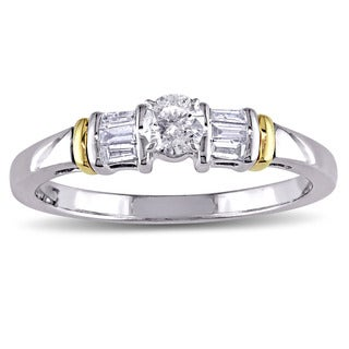 Miadora 10k White Yellow Gold 3/8ct TDW Round and Tapered Baguette Diamond 3-Stone Engagement Ring