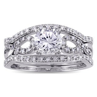 Miadora Signature Collection 10k White Gold Created White Sapphire and 1/4ct TDW Diamond Infinity 3-