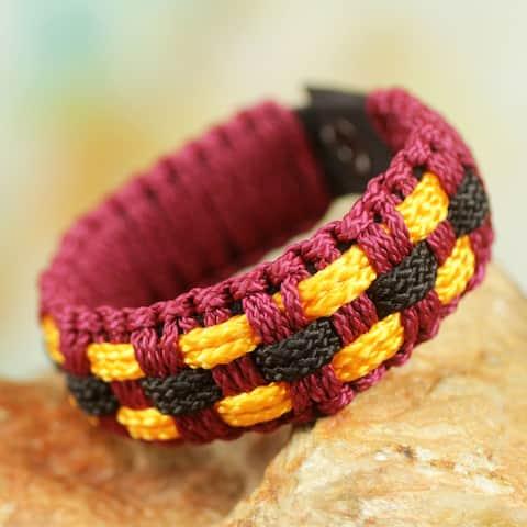 Handmade Men's Recycled Paper Brass 'Inner Peace' Bracelet (Ghana)