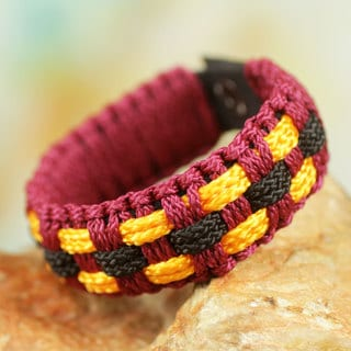 Handcrafted Men's Recycled Paper Brass 'Inner Peace' Bracelet (Ghana)