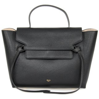 Celine Medium Black Grained Calfskin Leather with Gold Hardware Belt Bag Handbag