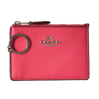 Coach Dahlia/Silver Smooth Leather Mini ID Skinny Wallet