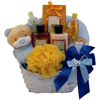 Art of Appreciation Blue Mommy and Baby Boy Bath Time Gift Basket