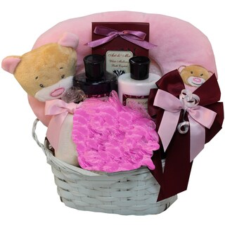 Mommy and Baby Girl Bath Time Gift Basket (Pink)