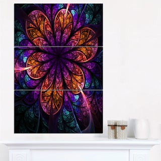Dark Red and Purple Fractal Flower - Modern Floral Canvas Wall Art