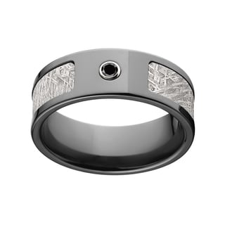 Black Zirconium Diamond Meteorite 8 Millimeter Ring