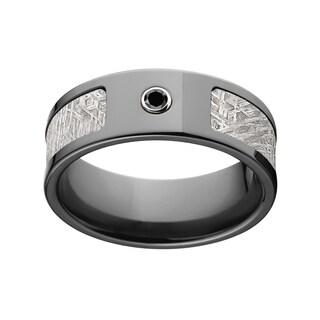 Black Zirconium Diamond Meteorite 8 Millimeter Ring