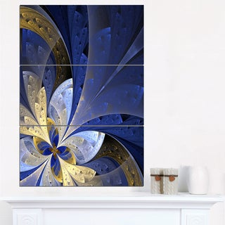 Blue and Yellow Large Fractal Pattern - Modern Floral Canvas Wall Art