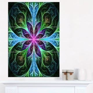 Glowing Blue and Green Fractal Flower Pattern - Modern Floral Canvas Wall Art