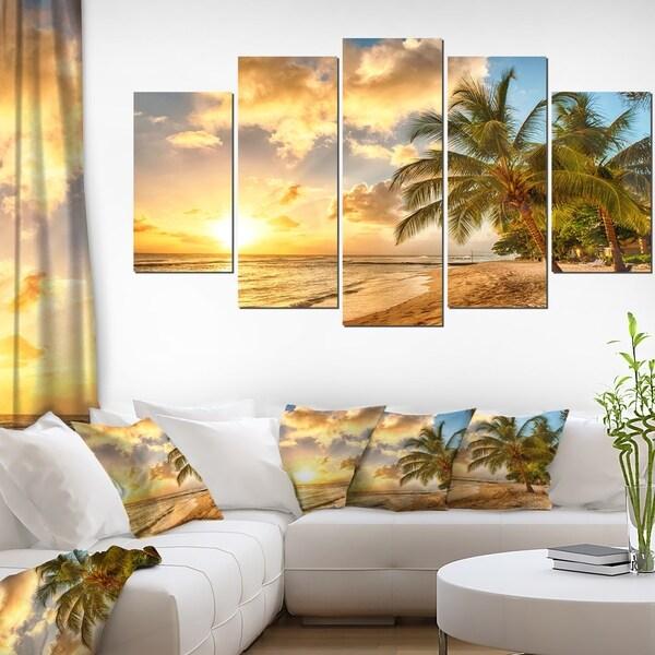 Shop Gorgeous Beach of Island Barbados - Modern Seascape Canvas ...