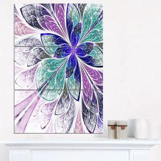 Blue and Purple Fractal Flower Design - Modern Floral Canvas Wall Art