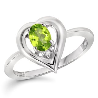 Jewelonfire Sterling Silver 1/2ct TW Peridot Gesmtone and Diamond Accent Ring