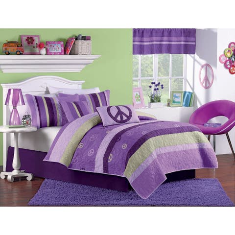 Peace Sign Twin-size Embroidered and Handcrafted 2-piece Quilt Set